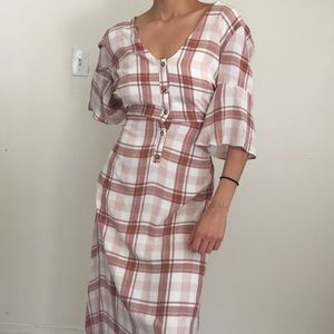 Urban outfitters pink plaid maxi dress
